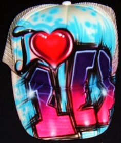 Airbrush White Trucker Hat with I Heart One Direction Logo ...