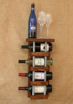 Distressed to Impress!  Rustic 4 Bottle Wall Mount Wine Rack With Top Shelf