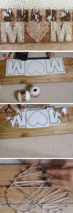 Mutter String Art - Diy Gift For Girls Ideen Kids Crafts, Diy Mother's Day Crafts, Mothers Day Crafts For Kids, Mother's Day Diy, Diy For Kids, Mothers Day Gifts From Daughter Diy, Mothers Day Presents, Holiday Crafts, Art Crafts