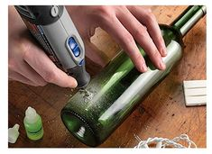 dremel-with-drill-for-glass - Home Decor -DIY - IKEA- Before After Cutting Glass Bottles, Recycled Glass Bottles, Glass Bottle Crafts, Bottle Art, Dremel 4000, Dremel Drill, Dremel Tool Projects, Dremel Wood Carving, Glass Engraving