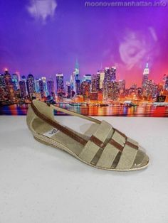 Womens shoes NINA brown khaki canvas Leather Soles slip on flat sandals sz 5.5 M #Nina #PlatformsWedges