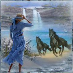 Cavalos correndo ao vento