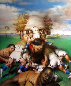 Rugby oil painting, quality