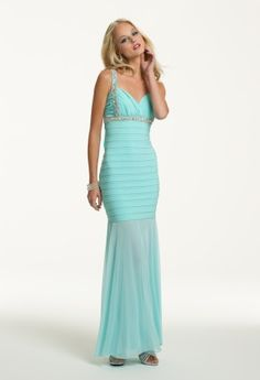 Prom Dresses 2013 - Jersey and Mesh Long Dress with Cowl Back from Camille La Vie and Group USA