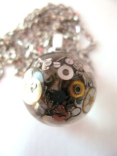 Steampunk Watch Parts Resin Pendant Necklace Sphere by ScrappinCop, $15.00