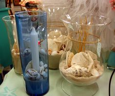 New items this weekend in my booth, Beach decor sand seashells in glass containers and vases with candles, how beach romantic! Only $9.00 - $15.00. Look for it at Treasure Trove, Hudson, Fl.