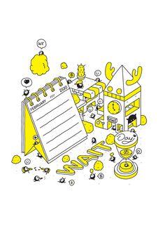 Day We Wait : OLDSCHOOL 2 BOOKS on Behance Line Illustration, Graphic Design Illustration, Comic Layout, Creative Infographic, Isometric Design, Bullet Journal Books, Geometric Logo, Illustrations And Posters, Motion Design