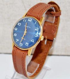 Herren Vergoldete Armbanduhr RAKETA, USSR 1960  von Vintage-Kleidung, Uhren und Wohnkultur auf DaWanda.com #Raketa #Luxury #Gold #watch #gifthim #forhim #vintage #Blau