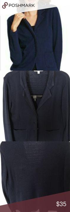 CAbi breakthrough jacket VGUC L Navy knit jacket with black trim. Smoke free home. CAbi Jackets & Coats Blazers