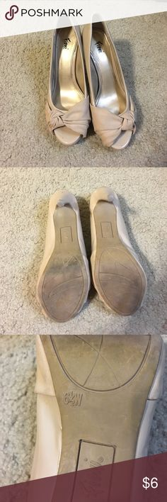 Nude Heels 👠 Worn nude heels, still in good condition, there is noticeable wear on the back of the heels (pictures provided) size 6 1/2 W! FIONI Clothing Shoes Heels