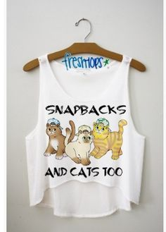 Snapbacks and cats too so Connor Franta. Fresh Tops, Summer Outfits, Cute Outfits, Crop Tops, Tank Tops, White Tank, My Style, Cats, How To Wear