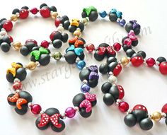 Mickey Mouse Minnie Mouse inspired clay bead Jewelry Bracelet Rainbow Polka Dot Bows Hypoallergenic Children Kids Adult mini mouse ears on Etsy, $18.99