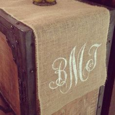 CUSTOM BURLAP Table RUNNER Monogram Table by baybeedahlboutique