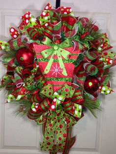 Christmas Mesh Wreath by WilliamsFloral on Etsy, $105.00