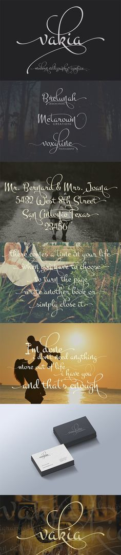 Vakia is modern script font, every single letters have been carefully crafted to make your text looks beautiful.