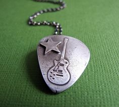 Guitar pick rock star necklace ✭