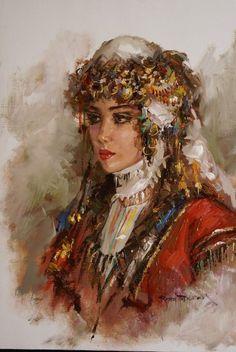 (Turkey) Turkish beauty by Remzi Taskiran ). Oil on canvas. Turkish Art, Turkish Beauty, Historical Art, Art Education, Female Art, Watercolor Art, Art Drawings, Art Photography, Sculptures