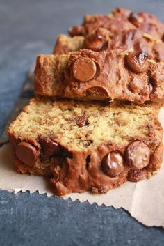 Moist, spiced banana bread filled with chocolate chips. It's made without eggs but you'd never tell the difference and it can easily be made vegan!
