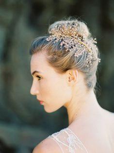 Bridal Headpiece, Handwired Crystal Comb Astilbe Flower, Blush Headpiece, Crystal, Pearl - Style 4015