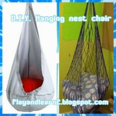 Play and Learn: Diy hanging nest chair Diy Hanging, Hanging Chair, Nest Chair, Rv Camping Tips, Backyard Swings, Playroom, Basement, Sew, Crafty