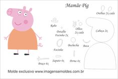 Felt Patterns Free, Felt Doll Patterns, Felt Animal Patterns, Stuffed Animal Patterns, Molde Peppa Pig, Peppa Pig Teddy, Peppa Pig Painting, Simple Birthday Cards, Felt Crafts Diy