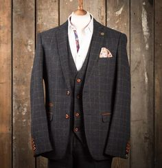 Marc Darcy Harris Heritage Tweed Suit Jacket - Navy Blue