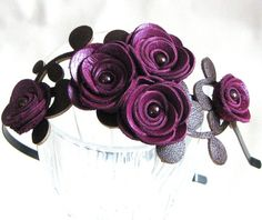 Purple flower headband leather amethyst roses green leaves bridal hairband woodland wedding floral tiara 3 year anniversary gift. $50.00, via Etsy.