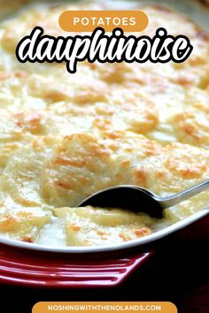 This recipe for Potatoes Dauphinoise is like a scalloped potato but it takes it to a whole new level with cream, garlic and gruyere cheese. A rich and comforting casserole perfect for any special dinner. Potato Sides, Potato Side Dishes, Vegetable Side Dishes, Holiday Side Dishes, Best Side Dishes, Side Dish Recipes, Potatoes Dauphinoise, Homemade Vegetable Soups, Acid Reflux Recipes