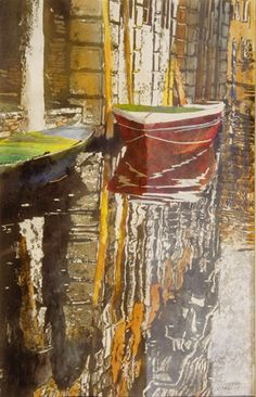 """canal (25) san polo  venice  30"""" x 20"""" micheal zarowsky / watercolour on arches paper (private collection)"""