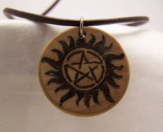 Supernatural Necklace Wood Burned Winchester Tattoo.