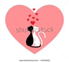 stock vector : Black cat and white cat, side by side in pink heart