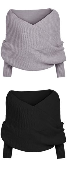The Shoulder off Sweater is made in soft wool and multi color and features shoulders off, V-neck and ruching at front.Bring it to your wardrobe with amazing price ,go to www.shein.com to check more details