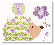 hedgehog nursery - Animal girl bedroom - baby nursery decor - Purple and green art - kids wall art - nursery owl - Jolie Lady - on Etsy, $14.00