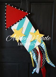 Rocket Wooden Door Hanger, Door Decoration, July 4 Decoration, Memorial Day Decoration on Etsy, $50.00