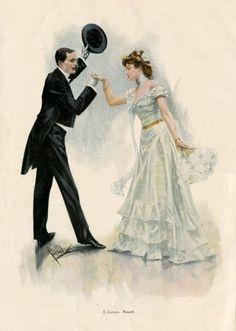1899 Cucuel Vintage Art Print Dancing Couple Minuet
