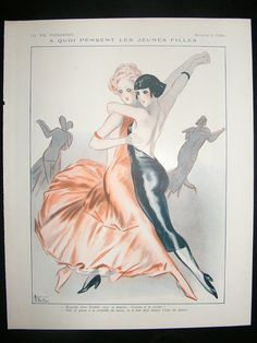 A Quoi Pensent Les Jeunes Filles. Risque ladies dancing (1931). Magazine Plate. La Vie Parisienne. Armand Vallée (Art Deco,1884-1960).  Vallée was a fashion designer, poster artist and a comic illustrator. He specialized in risque scenes with scantily clad girls and was regarded as a virtuoso designer. He worked for a number of illustrated journals including Fantasio, and La Vie Parisienne.