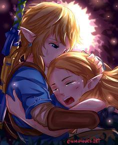 BOTW: Link and Zelda Hug by Enmanuelart20.deviantart.com on @DeviantArt