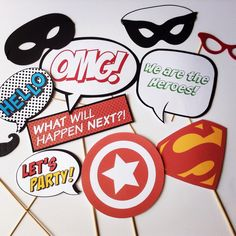 Super Hero Photo Booth Props by MisRecuerdos on Etsy https://www.etsy.com/listing/212252298/super-hero-photo-booth-props