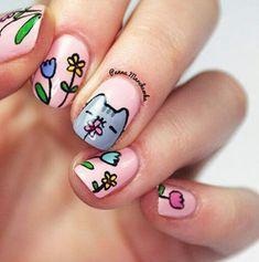 Cat Pusheen and spring nail art by Panna Marchewka Animal Nail Art Kawaii Nail Art, Cat Nail Art, Animal Nail Art, Pink Nail Art, Cat Nails, Heavenly Nails, Nail Art 2014, Nails 2015, Easter Nail Art