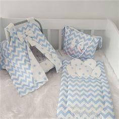ModaStra Mavi Beyaz Zigzag Desenli Puset Örtüsü Alt Açma ve Çanta set