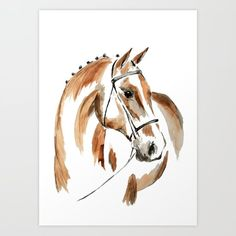 Bay Watercolour Horse Art Print by Art By Chrissy Taylor - X-Small Watercolor Horse, Watercolor Animals, Watercolor Painting Techniques, Painting & Drawing, Drawing Tips, Horse Artwork, Horse Drawings, Equine Art, Animal Paintings