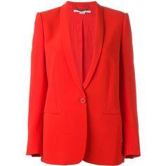 Stella McCartney tuxedo lapel blazer ($1,515) ❤ liked on Polyvore featuring outerwear, jackets, blazers, red, red blazer jacket, long sleeve blazer, red tux jacket, red jacket and lapel jacket