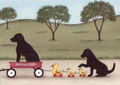 Black Lab /Labrador retriever family taking ride in wagon (with ducks) / Lynch signed folk art print on Etsy, $13.24