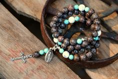 Our Lady of Good Counsel Rosary Bracelet- Brown Snowflake Jasper