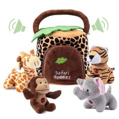 Plush Creations Plush Jungle Animals Toy Set, Includes 4 Talking Soft Safari Animals A Plush Elephant Plush Monkey Plush Giraffe Plush Tiger With A Plush Jungle House Carrier Great For Boys And Girls ** You can get additional details at the image link. (This is an affiliate link) Safari Animals, Plush Animals, Animals And Pets, Giraffe, Elephant, Baby Boy Swag, Jungle House, Plush Dolls, Pet Toys