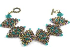 Diamond peyote shape bracelet instructions by daxbeadartpatterns, $7.00