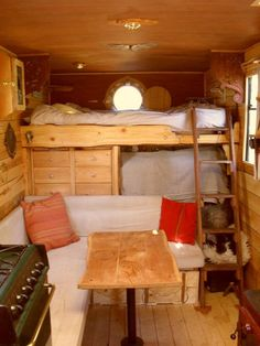 Vintage trailer interior. Love it!