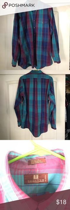 Men's Nordstrom Bright Plaid Dress Shirt This Plaid shirt has been gently used. This will add a pop of color to any suit or slacks! Nordstrom Shirts Dress Shirts