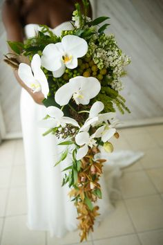 destination wedding cascading bouquet  www.tablescapesbydesign.com https://www.facebook.com/pages/Tablescapes-By-Design/129811416695