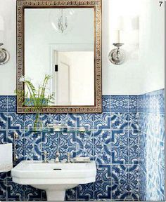 sikes and griffin's powder room // tiling and key Greek mirror